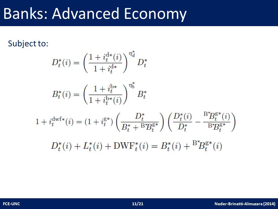 Banks: Advanced Economy FCE-UNC 11/21 Neder-Brinatti-Almuzara (2014) Subject to: