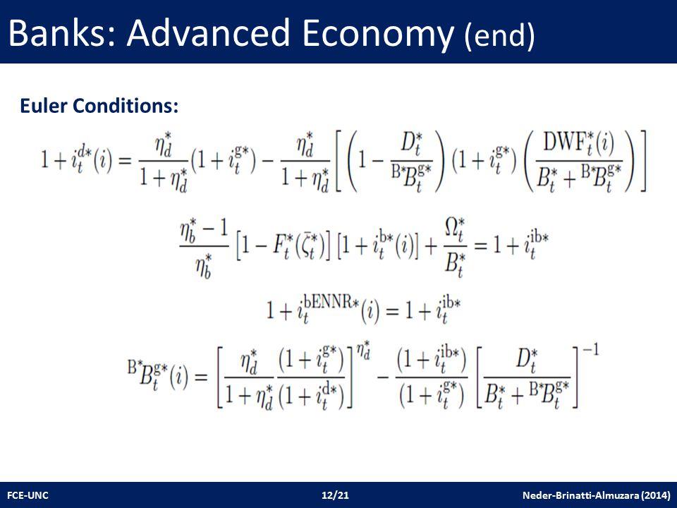 Banks: Advanced Economy (end) FCE-UNC 12/21 Neder-Brinatti-Almuzara (2014) Euler Conditions: