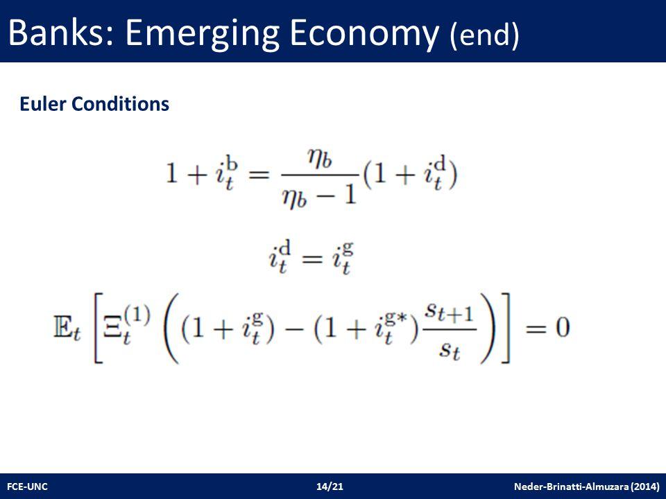 Banks: Emerging Economy (end) FCE-UNC 14/21 Neder-Brinatti-Almuzara (2014) Euler Conditions