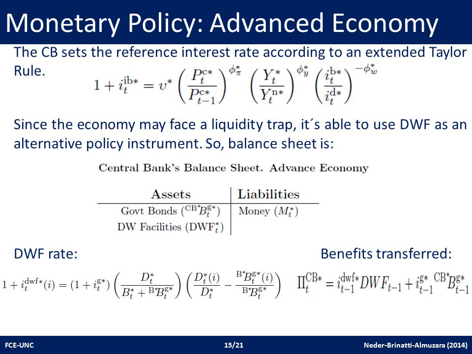 Monetary Policy: Advanced Economy FCE-UNC 15/21 Neder-Brinatti-Almuzara (2014) The CB sets the reference interest rate according to an extended Taylor Rule.