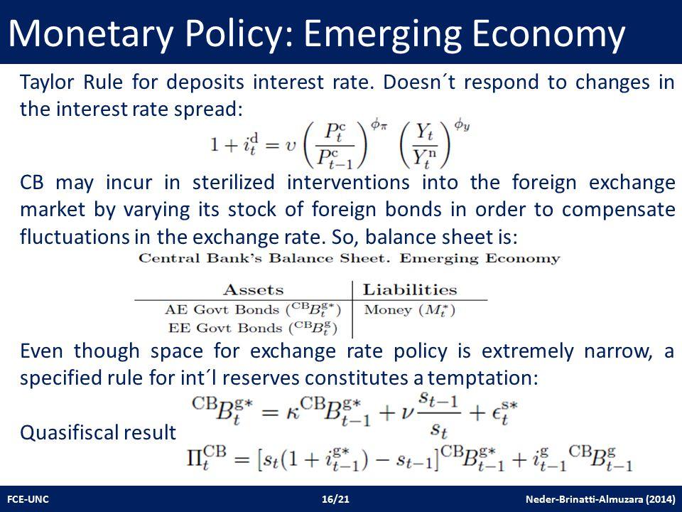 Monetary Policy: Emerging Economy FCE-UNC 16/21 Neder-Brinatti-Almuzara (2014) Taylor Rule for deposits interest rate.