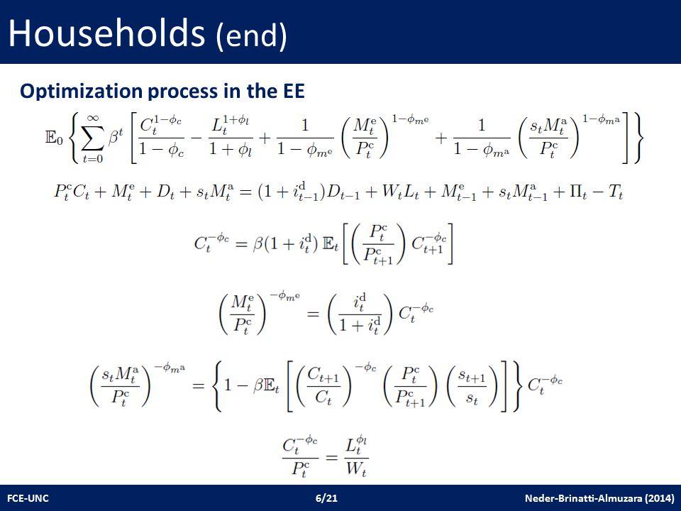 Households (end) FCE-UNC 6/21 Neder-Brinatti-Almuzara (2014) Optimization process in the EE