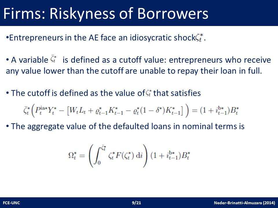 Firms: Riskyness of Borrowers FCE-UNC 9/21 Neder-Brinatti-Almuzara (2014) Entrepreneurs in the AE face an idiosycratic shock.
