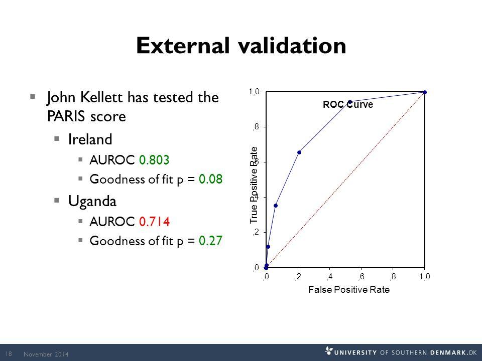 External validation  John Kellett has tested the PARIS score  Ireland  AUROC 0.803  Goodness of fit p = 0.08  Uganda  AUROC 0.714  Goodness of fit p = 0.27 November 2014 18