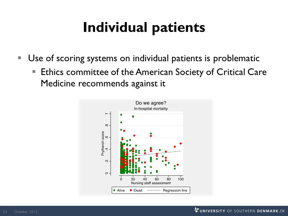 Individual patients  Use of scoring systems on individual patients is problematic  Ethics committee of the American Society of Critical Care Medicine recommends against it October 201323
