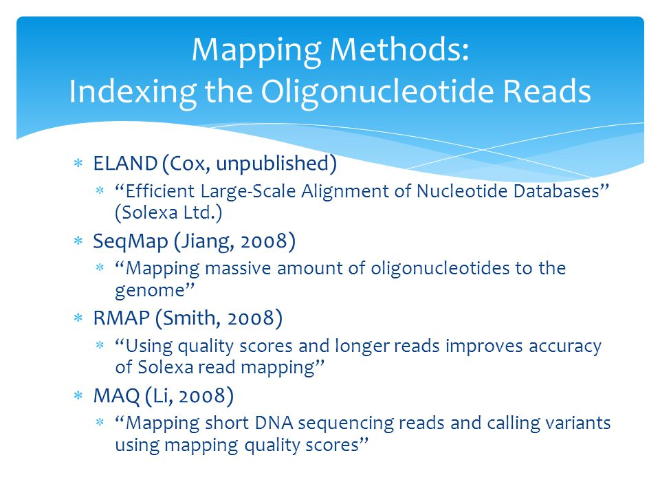  ELAND (Cox, unpublished)  Efficient Large-Scale Alignment of Nucleotide Databases (Solexa Ltd.)  SeqMap (Jiang, 2008)  Mapping massive amount of oligonucleotides to the genome  RMAP (Smith, 2008)  Using quality scores and longer reads improves accuracy of Solexa read mapping  MAQ (Li, 2008)  Mapping short DNA sequencing reads and calling variants using mapping quality scores Mapping Methods: Indexing the Oligonucleotide Reads