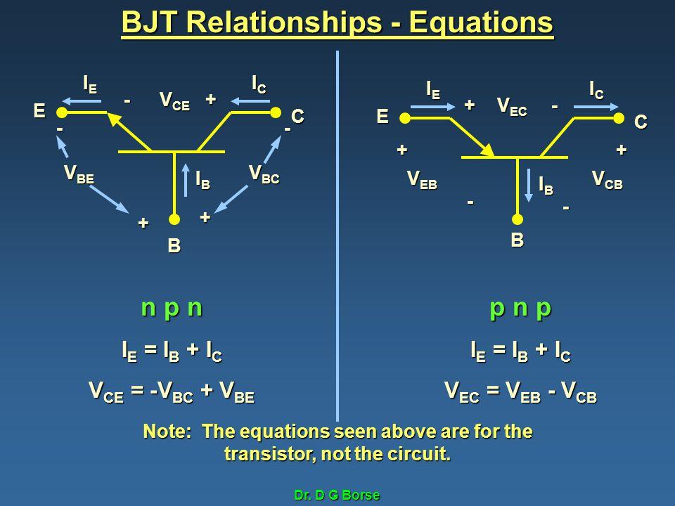 Dr. D G Borse BJT Relationships - Equations B C E IEIEIEIE ICICICIC IBIBIBIB - + V BE V BC + - +- V CE B C E IEIEIEIE ICICICIC IBIBIBIB - + V EB V CB