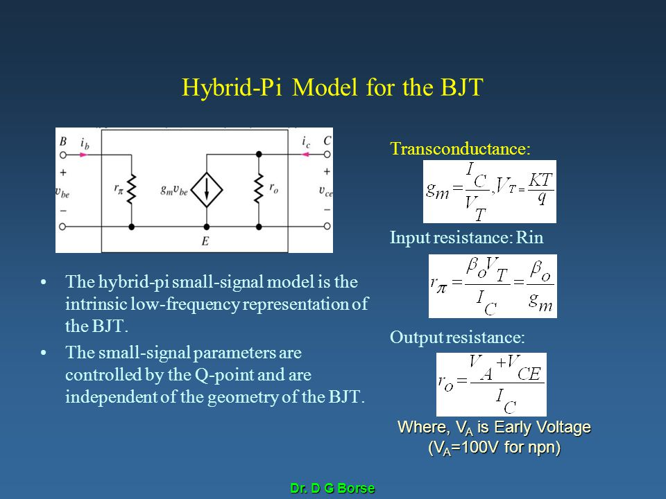 Dr. D G Borse Hybrid-Pi Model for the BJT The hybrid-pi small-signal model is the intrinsic low-frequency representation of the BJT. The small-signal