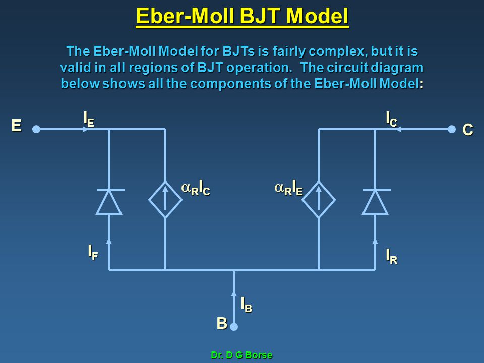 Dr. D G Borse Eber-Moll BJT Model The Eber-Moll Model for BJTs is fairly complex, but it is valid in all regions of BJT operation. The circuit diagram
