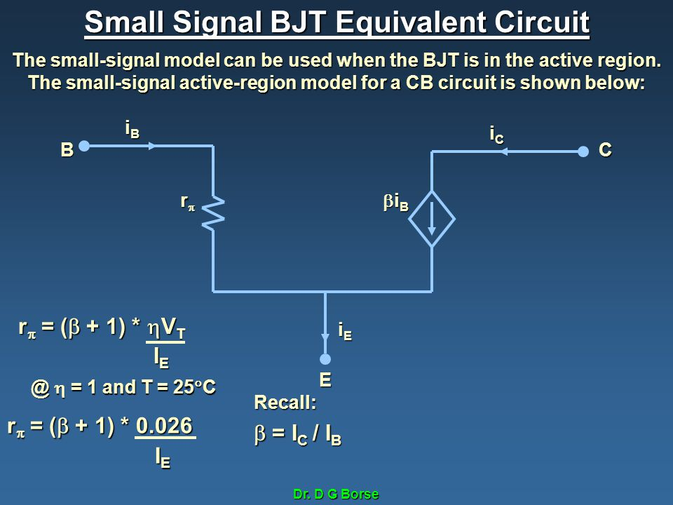 Dr. D G Borse Small Signal BJT Equivalent Circuit The small-signal model can be used when the BJT is in the active region. The small-signal active-reg
