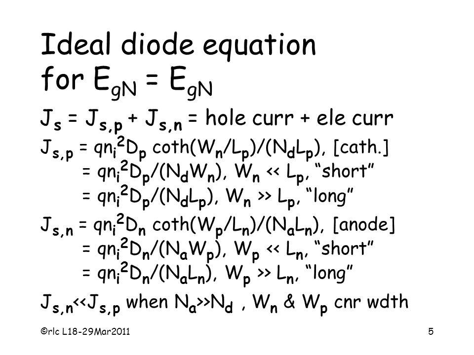 5 Ideal diode equation for E gN = E gN J s = J s,p + J s,n = hole curr + ele curr J s,p = qn i 2 D p coth(W n /L p )/(N d L p ), [cath.] = qn i 2 D p /(N d W n ), W n > L p, long J s,n = qn i 2 D n coth(W p /L n )/(N a L n ), [anode] = qn i 2 D n /(N a W p ), W p > L n, long J s,n >N d, W n & W p cnr wdth
