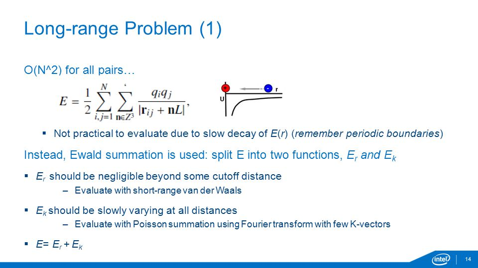 14 Long-range Problem (1) O(N^2) for all pairs…  Not practical to evaluate due to slow decay of E(r) (remember periodic boundaries) Instead, Ewald su