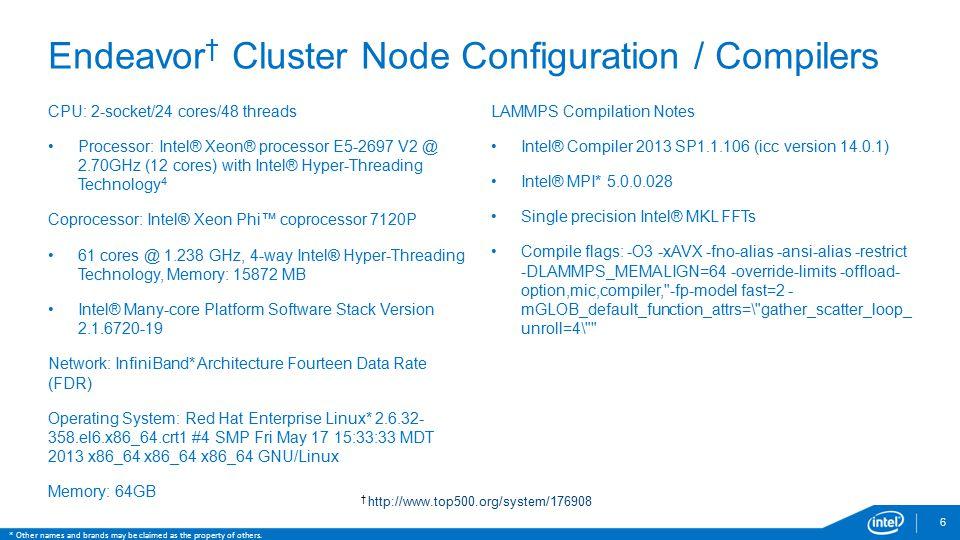 Endeavor † Cluster Node Configuration / Compilers 6 CPU: 2-socket/24 cores/48 threads Processor: Intel® Xeon® processor E5-2697 V2 @ 2.70GHz (12 cores