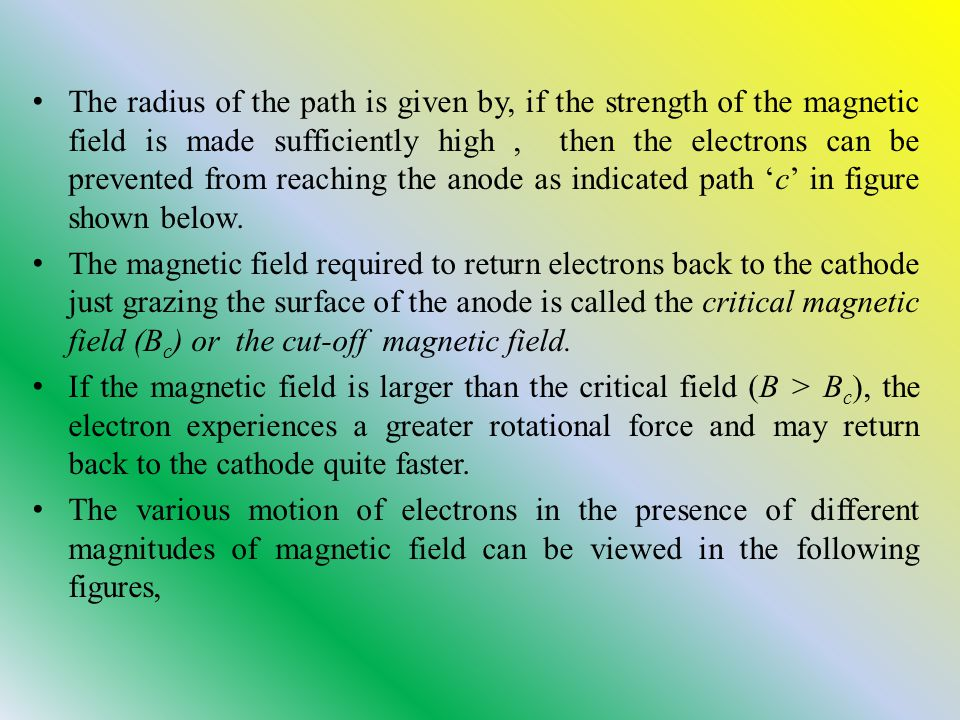 The radius of the path is given by, if the strength of the magnetic field is made sufficiently high, then the electrons can be prevented from reaching