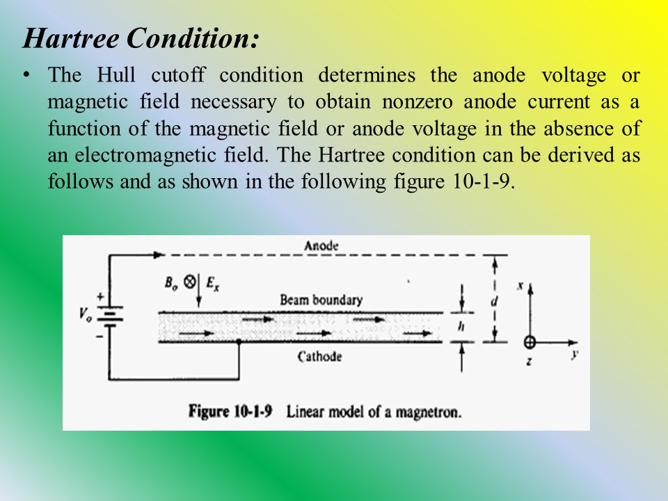 Hartree Condition: The Hull cutoff condition determines the anode voltage or magnetic field necessary to obtain nonzero anode current as a function of the magnetic field or anode voltage in the absence of an electromagnetic field.