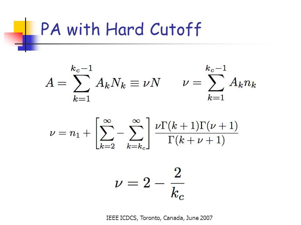 IEEE ICDCS, Toronto, Canada, June 2007 PA with Hard Cutoff