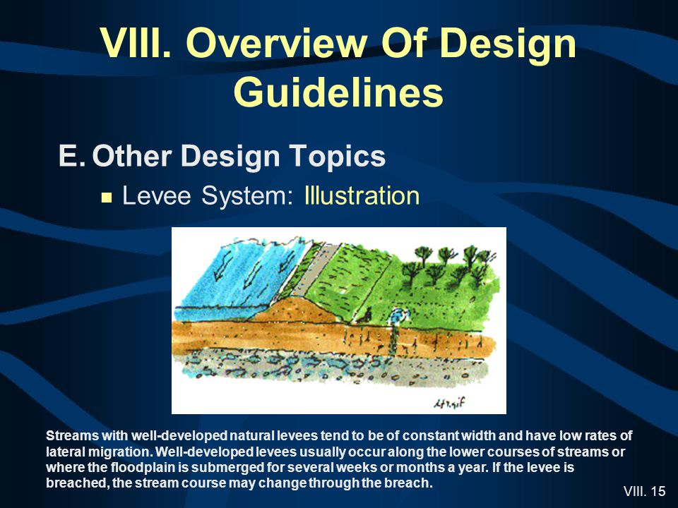 VIII. 15 VIII. Overview Of Design Guidelines E.Other Design Topics Levee System: Illustration Streams with well-developed natural levees tend to be of