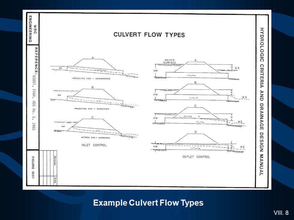 VIII. 8 Example Culvert Flow Types