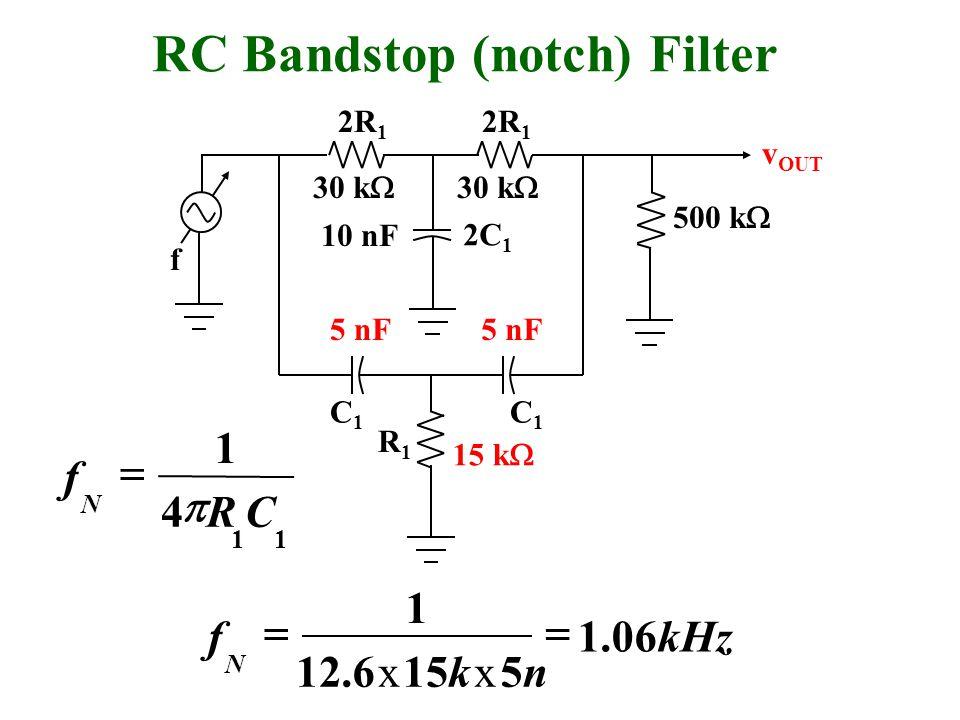 500 k  f 30 k  10 nF v OUT 30 k  RC Bandstop (notch) Filter 15 k  5 nF 11 4 1 CR f N   R1R1 C1C1 C1C1 2C 1 2R 1 kHz nk xk xx f N 06.1 5156.12 1 