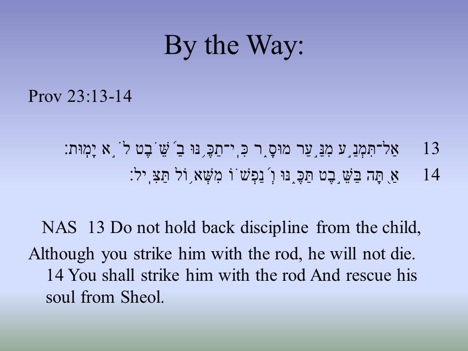 By the Way: Prov 23:13-14 13 אַל־תִּמְנַ ֣ ע מִנַּ ֣ עַר מוּסָ ֑ ר כִּֽי־תַכֶּ ֥ נּוּ בַ ֝ שֵּׁ ֗ בֶט לֹ ֣ א יָמֽוּת׃ 14 אַ ֭ תָּה בַּשֵּׁ ֣ בֶט תַּכֶּ ֑ נּוּ וְ ֝ נַפְשׁ ֗ וֹ מִשְּׁא ֥ וֹל תַּצִּֽיל׃ NAS 13 Do not hold back discipline from the child, Although you strike him with the rod, he will not die.