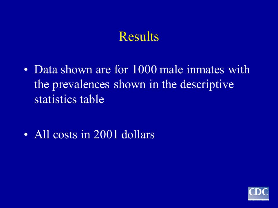 Results Data shown are for 1000 male inmates with the prevalences shown in the descriptive statistics table All costs in 2001 dollars