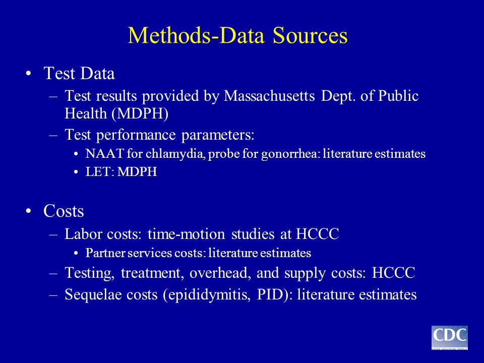 Methods-Data Sources Test Data –Test results provided by Massachusetts Dept. of Public Health (MDPH) –Test performance parameters: NAAT for chlamydia,