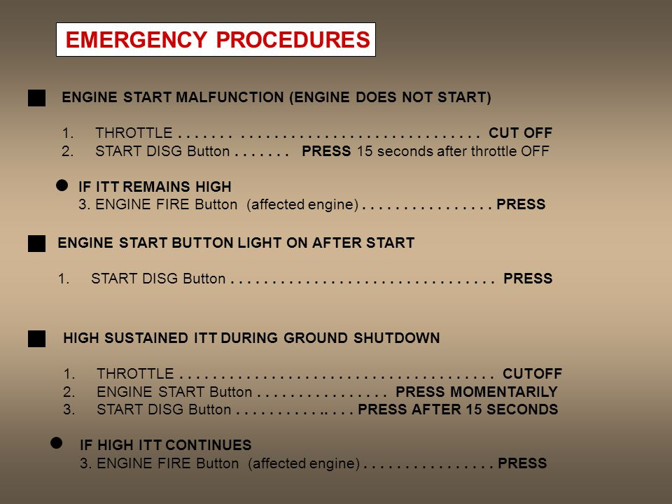 EMERGENCY PROCEDURES ENGINE START MALFUNCTION (ENGINE DOES NOT START) 1.THROTTLE.................................... CUT OFF 2.START DISG Button......
