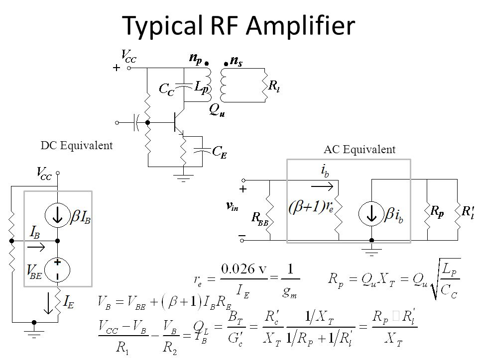 Typical RF Amplifier DC Equivalent AC Equivalent