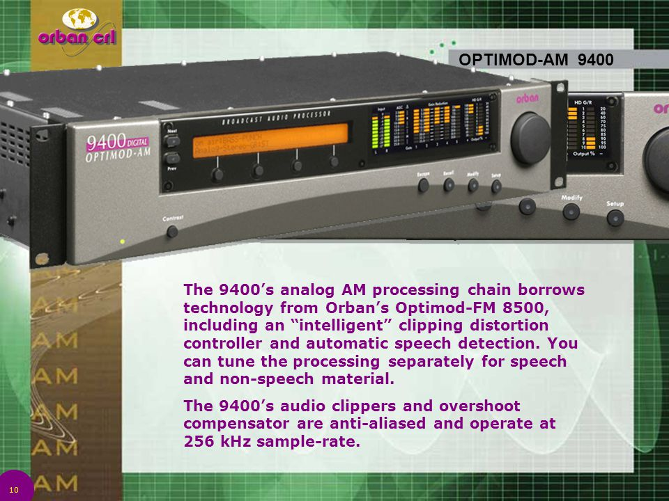 "10 OPTIMOD-AM 9400 The 9400's analog AM processing chain borrows technology from Orban's Optimod-FM 8500, including an ""intelligent"" clipping distorti"