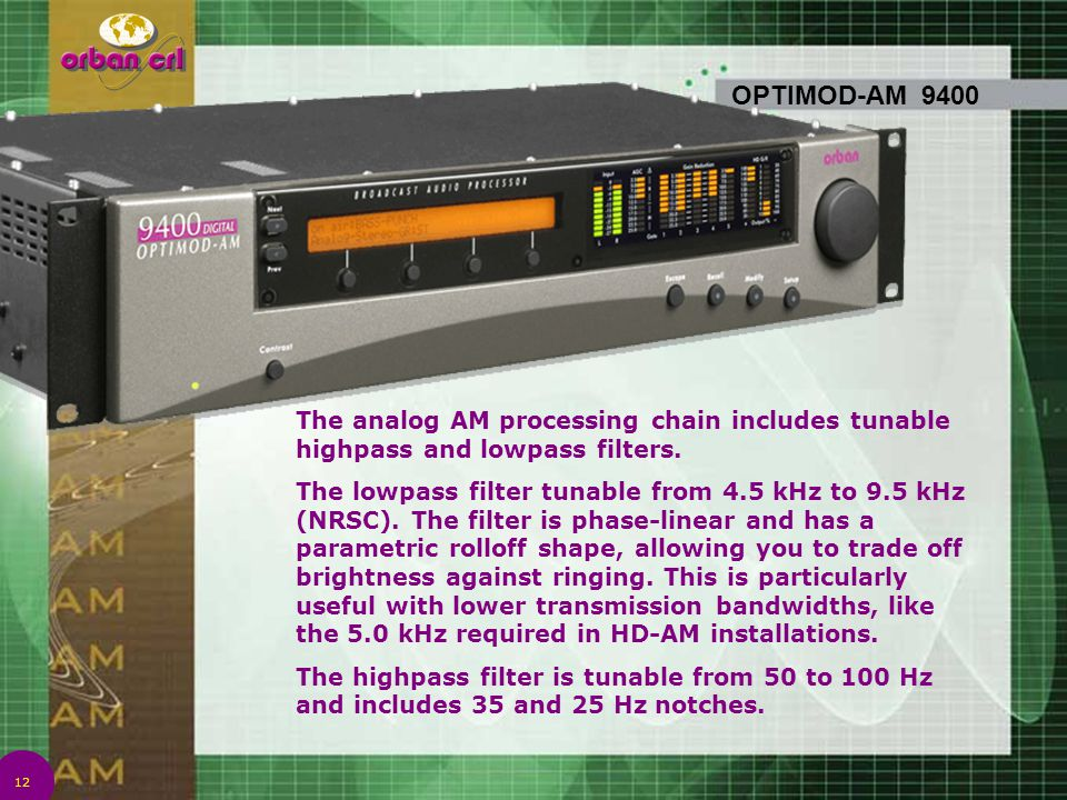 12 OPTIMOD-AM 9400 The analog AM processing chain includes tunable highpass and lowpass filters. The lowpass filter tunable from 4.5 kHz to 9.5 kHz (N