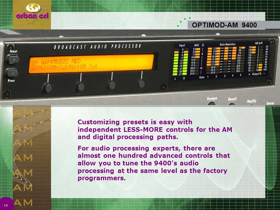 14 OPTIMOD-AM 9400 Customizing presets is easy with independent LESS-MORE controls for the AM and digital processing paths. For audio processing exper