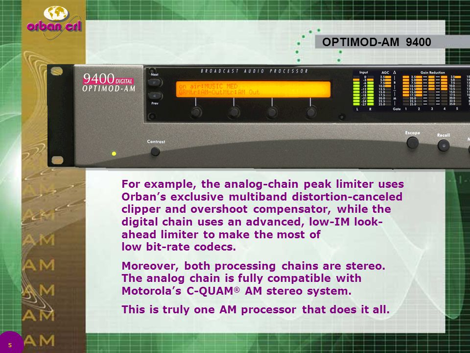 5 OPTIMOD-AM 9400 For example, the analog-chain peak limiter uses Orban's exclusive multiband distortion-canceled clipper and overshoot compensator, w