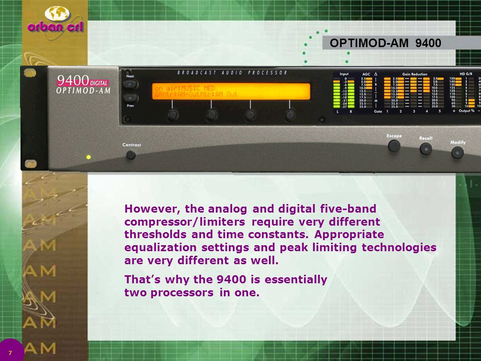 7 OPTIMOD-AM 9400 However, the analog and digital five-band compressor/limiters require very different thresholds and time constants. Appropriate equa