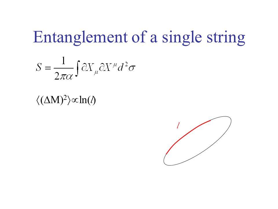 Entanglement of a single string l  (  M) 2  ln( l )