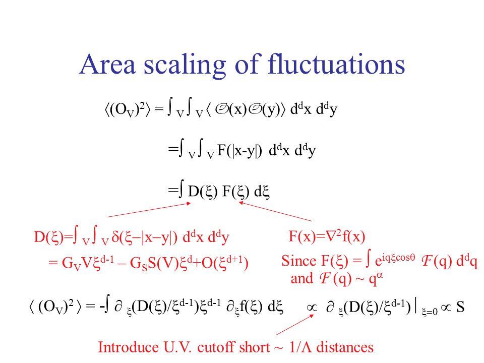 Area scaling of fluctuations  (O V ) 2  =  V  V  O (x) O (y)  d d x d d y =  V  V F(|x-y|) d d x d d y =  D(  ) F(  ) d  Since F(  ) =  e iq  cos  F (q) d d q and F (q) ~ q  F(x)=  2 f(x)  (O V ) 2  = -  ∂  (D(  )/  d-1 )  d-1 ∂  f(  ) d  Introduce U.V.