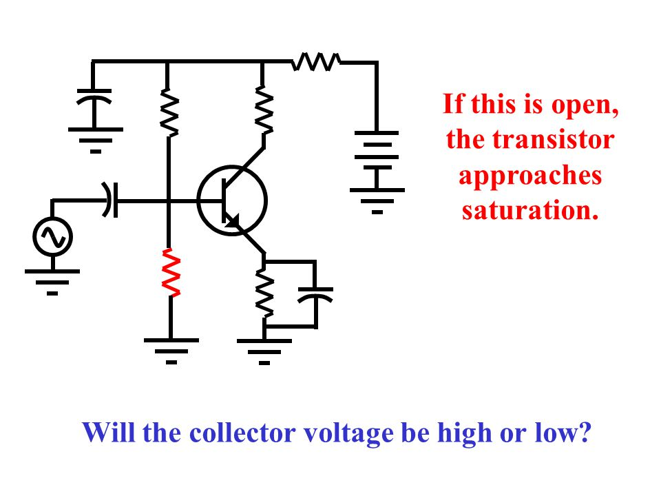 If either of these is open, the transistor is in cutoff. Which of these two faults will produce a non-zero emitter voltage?
