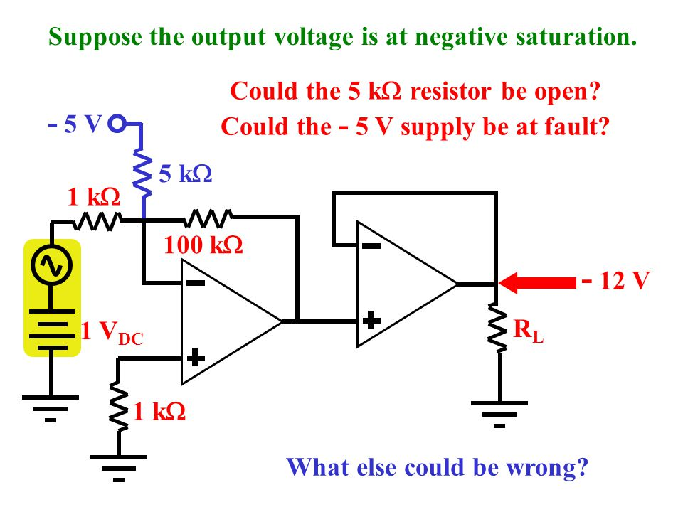 - 5 V 5 k  Here's a solution: add a negative voltage to cancel the positive dc offset of the source. 100 k  1 k  1 V DC 1 k  RLRL Suppose a signal