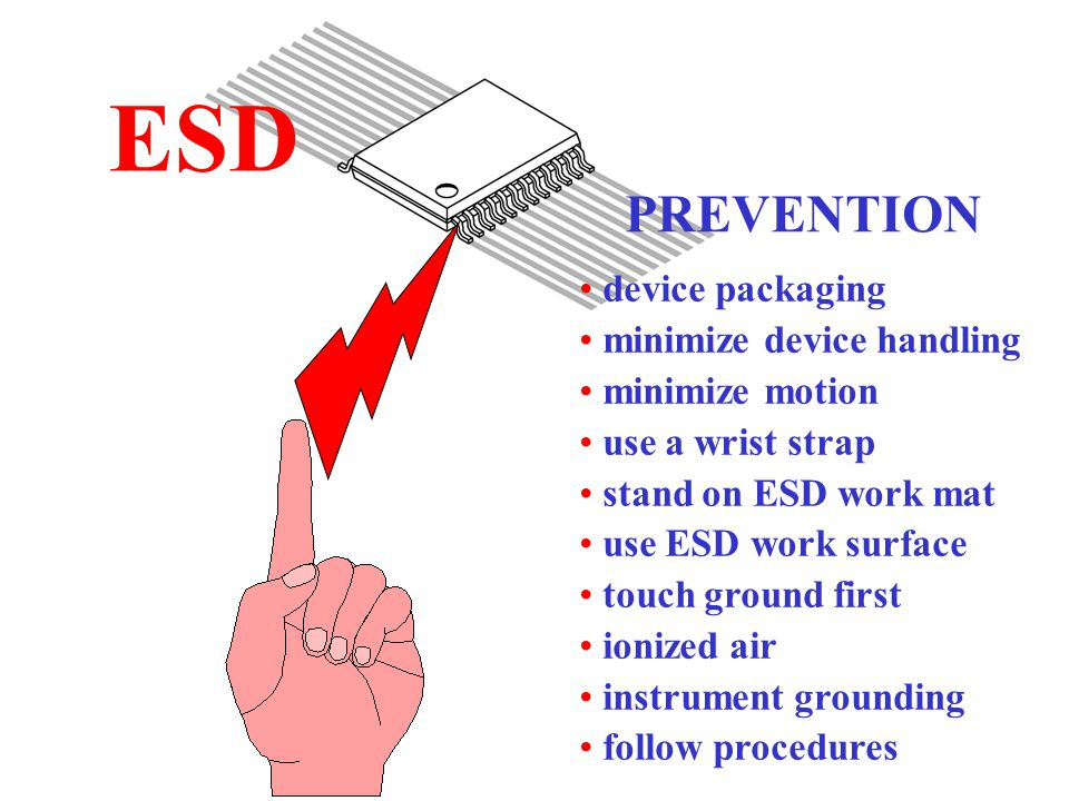ESD device packaging minimize device handling minimize motion use a wrist strap stand on ESD work mat use ESD work surface touch ground first ionized air instrument grounding follow procedures PREVENTION