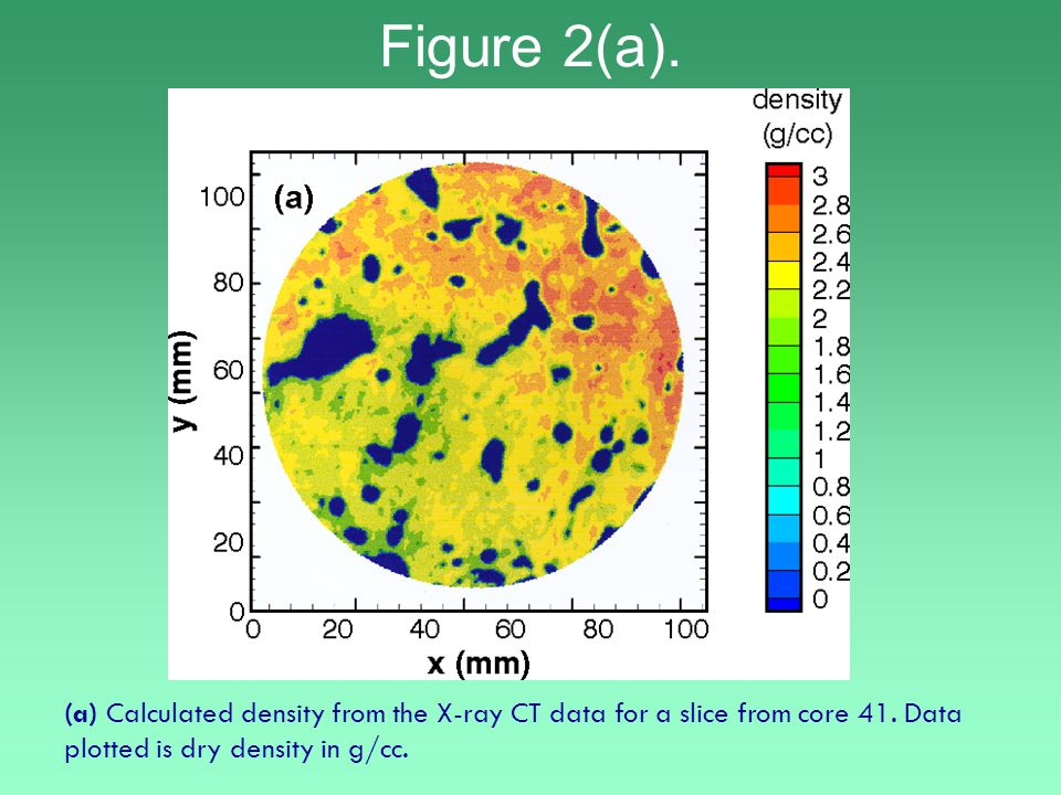 (a) Calculated density from the X-ray CT data for a slice from core 41.