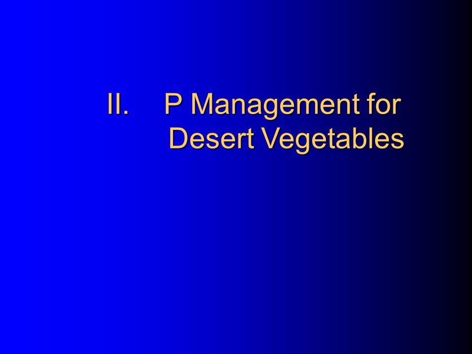 II.P Management for Desert Vegetables