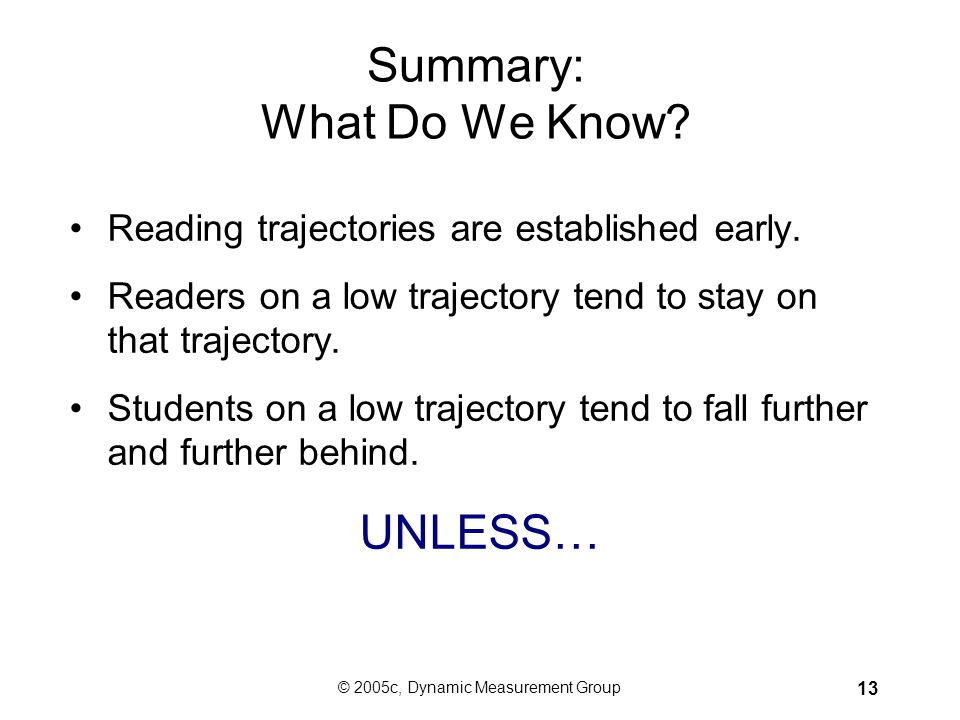 © 2005c, Dynamic Measurement Group 12 40 Words per Minute at the End of First Grade Puts Children on Trajectory to Reading Words Per Minute Year Month