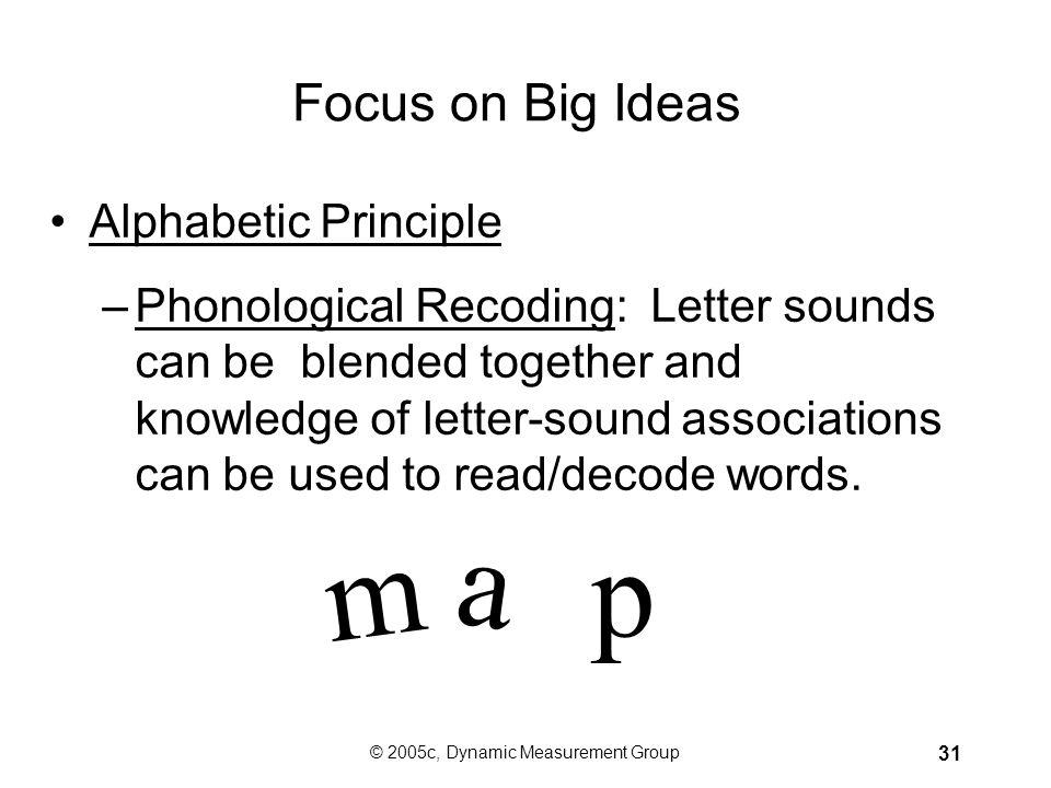 © 2005c, Dynamic Measurement Group 30 Focus on Big Ideas Alphabetic Principle: Based on two parts. - Alphabetic Understanding: Letters represent sound