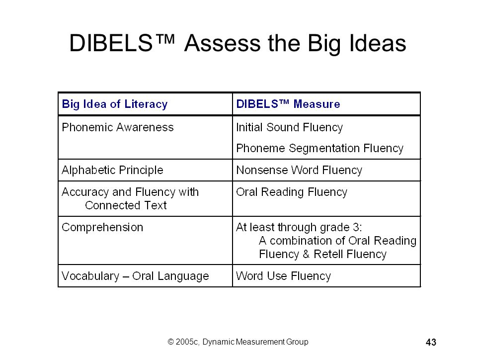 © 2005c, Dynamic Measurement Group 42 How Can We Use DIBELS™ to Change Reading Outcomes? Begin early. Focus instruction on the Big Ideas of early lite
