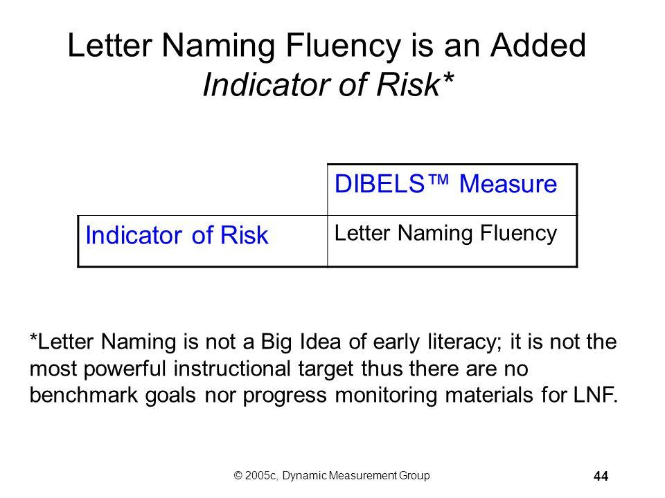 © 2005c, Dynamic Measurement Group 43 DIBELS™ Assess the Big Ideas