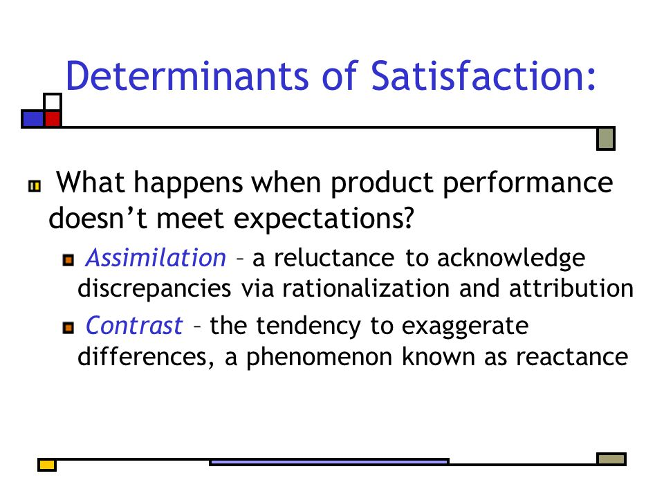 Determinants of Satisfaction: What happens when product performance doesn't meet expectations.