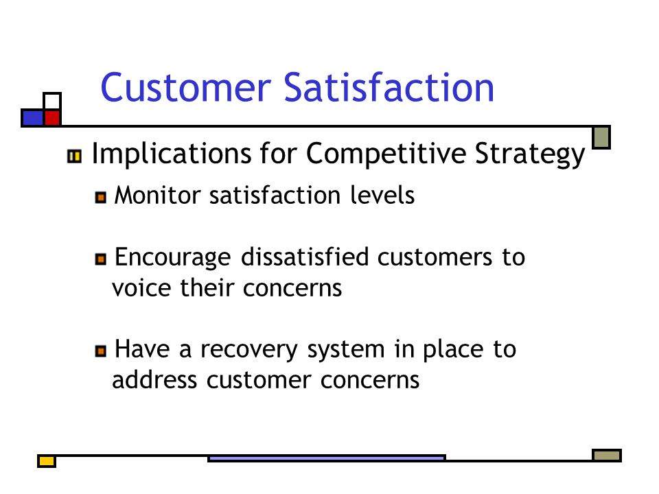 Customer Satisfaction Monitor satisfaction levels Encourage dissatisfied customers to voice their concerns Have a recovery system in place to address customer concerns Implications for Competitive Strategy