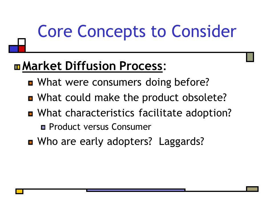 Core Concepts to Consider Market Diffusion Process: What were consumers doing before.