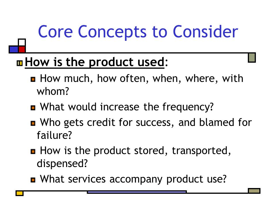 Core Concepts to Consider How is the product used: How much, how often, when, where, with whom.