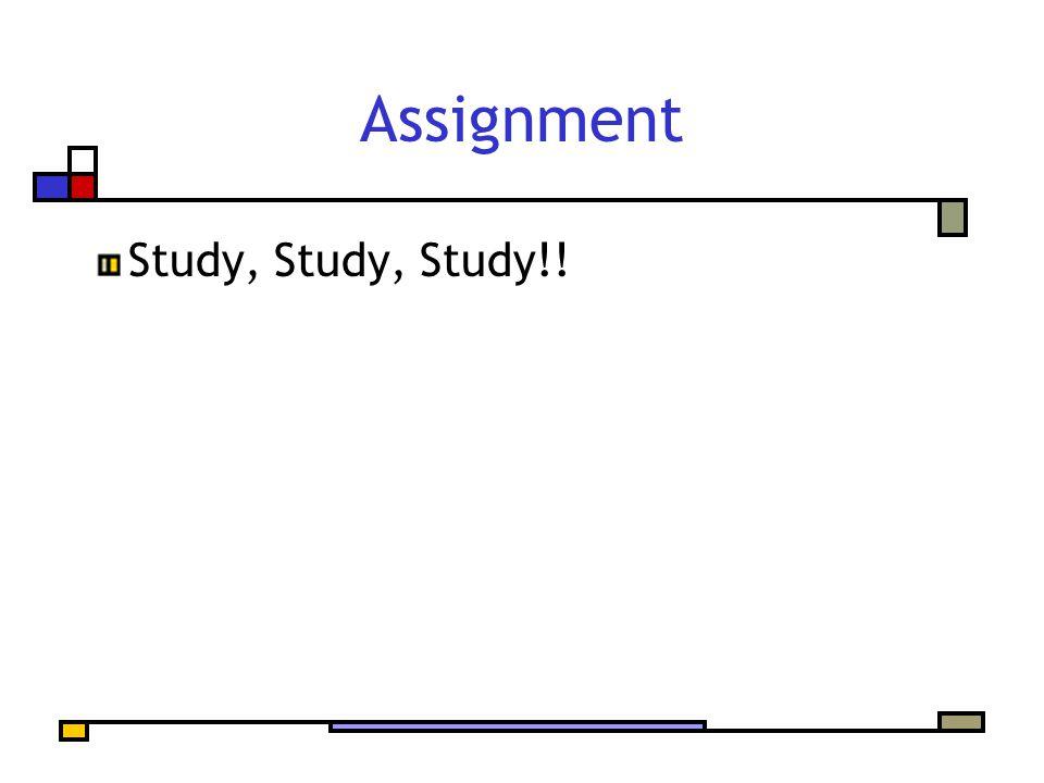 Assignment Study, Study, Study!!