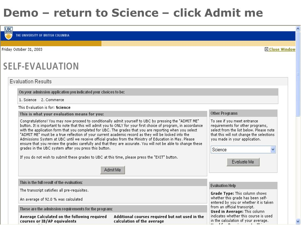 30 Demo – return to Science – click Admit me